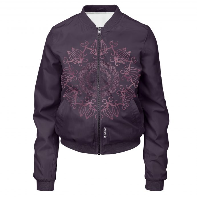 Crystal Bomber Jacket MandalaVibes 2 Plum Front scaled