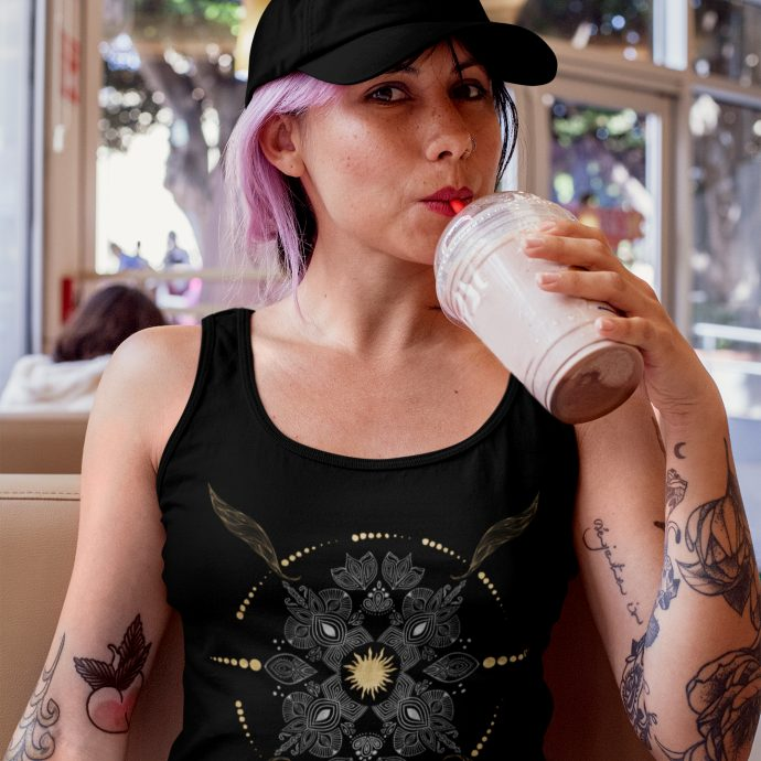 Crystal Tank Top Ancient Growth Black Live