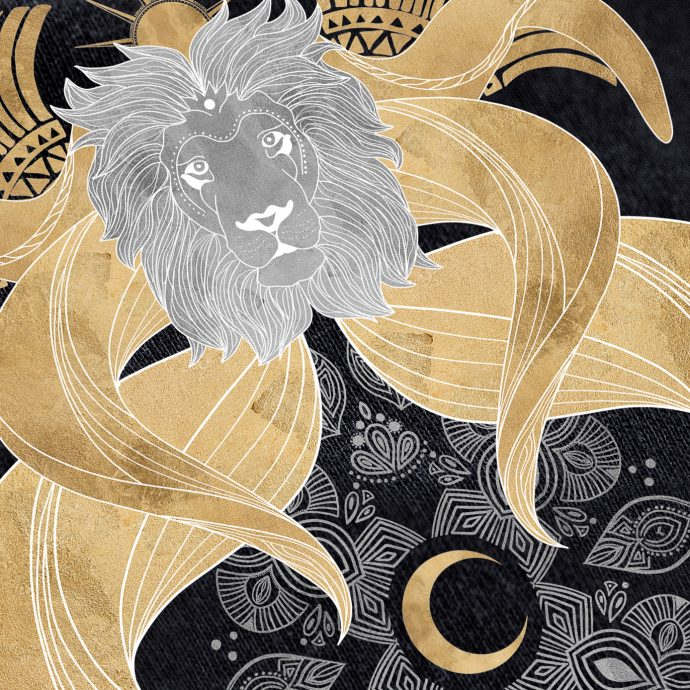 ancient lion black printdetail
