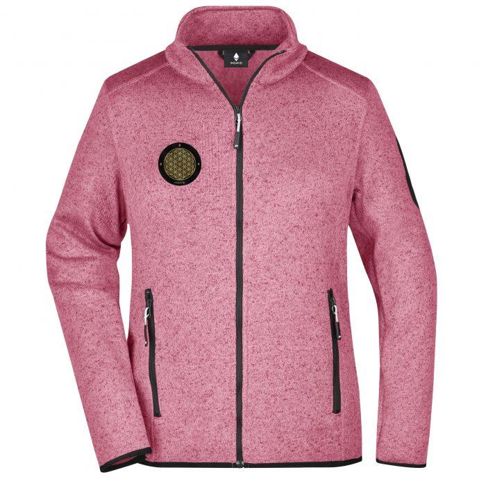 Crystal Fleece Strick Jacke Pink