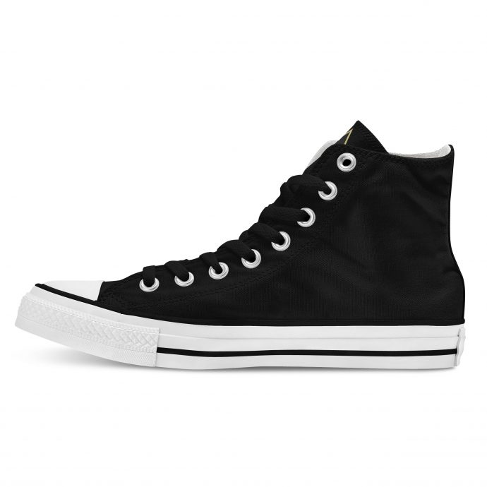 Crystal High Sneaker FlowerOfLife Black Side Left