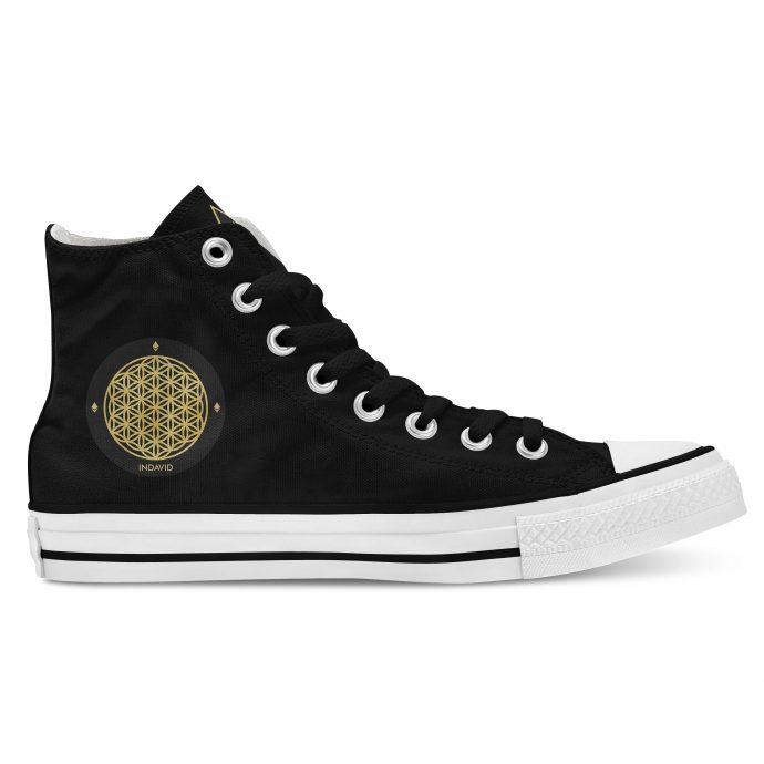 Crystal High Sneaker FlowerOfLife Black Side Right