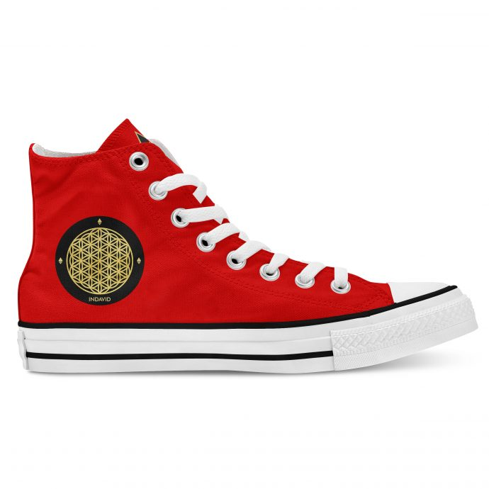 Crystal High Sneaker FlowerOfLife Red Side Right