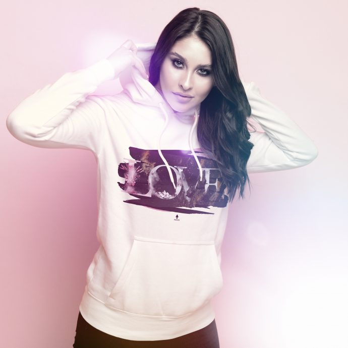Crystal Hoodie Love Energy PaintedLove White Live scaled