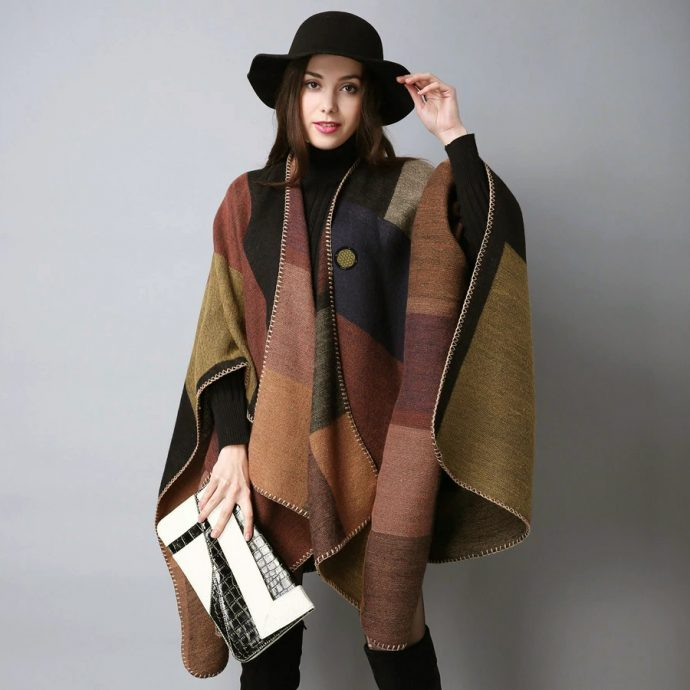 Crystal Poncho Eight Brown
