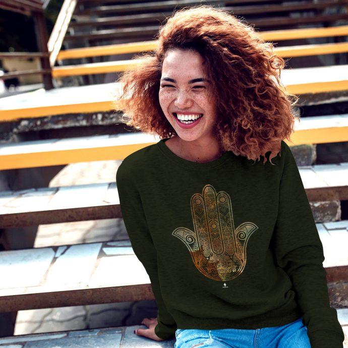 Crystal Sweatshirt Calm Energy Hamsa Khaki Live scaled