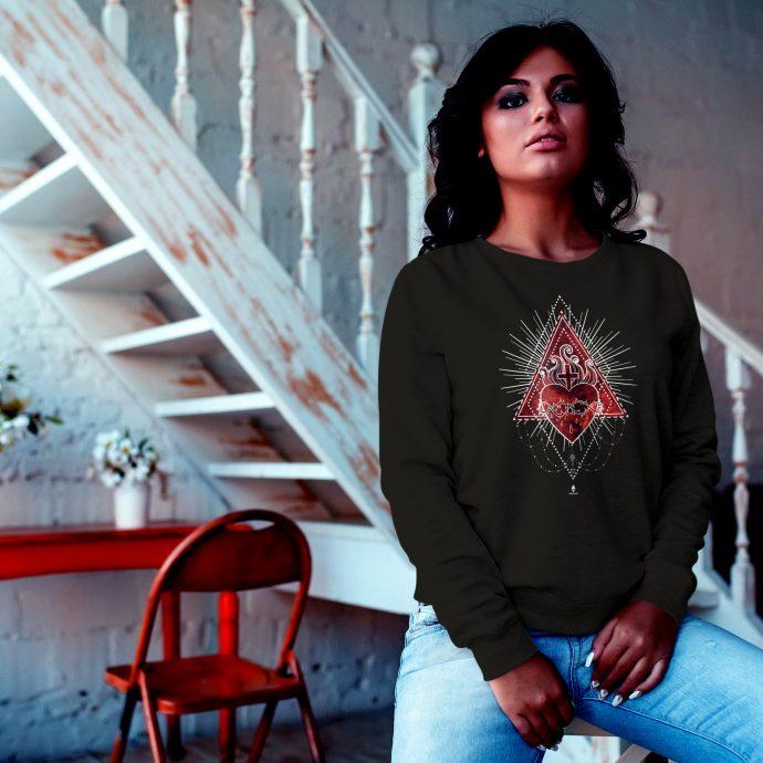 Crystal Sweatshirt Love Energy SacretHeart Black Live scaled