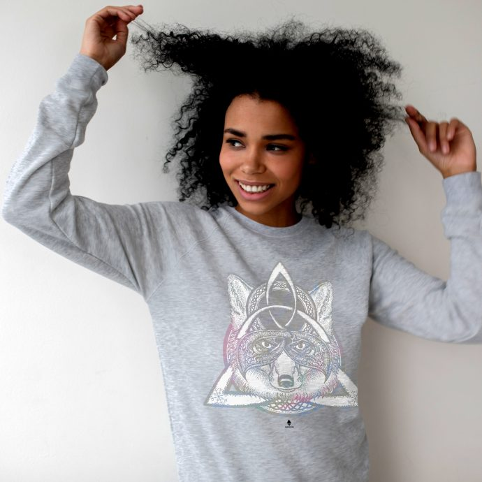 Crystal Sweatshirt Protection Energy Wolf HeatherGrey Live scaled