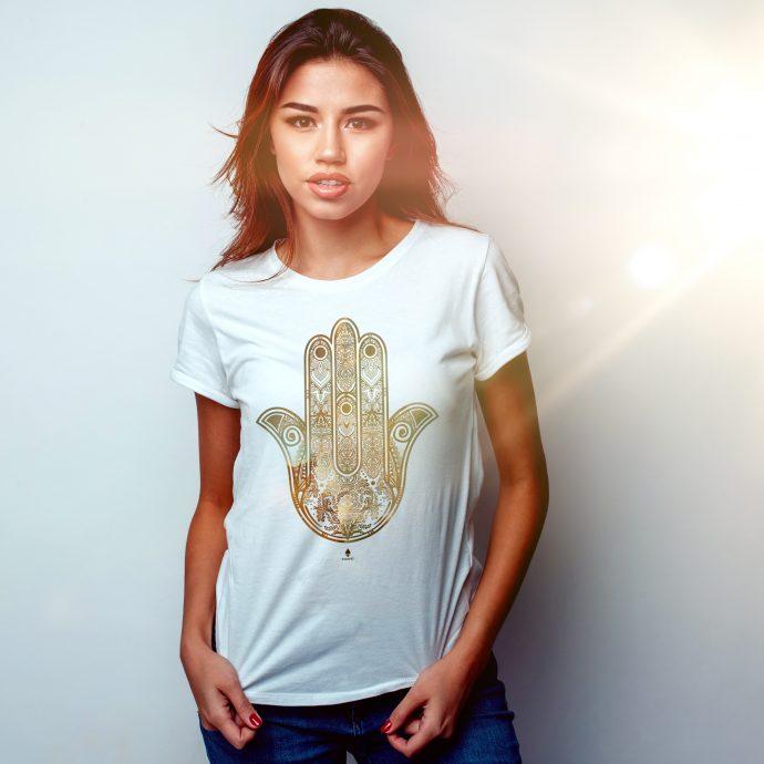 Crystal T Shirt Calm Energy Hamsa White Live scaled