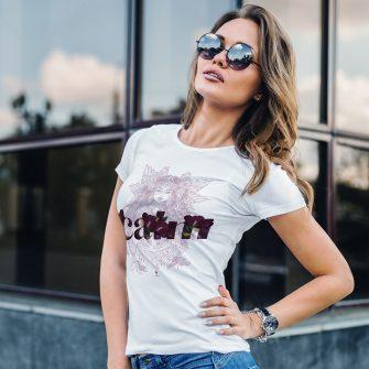 Crystal T Shirt Calm Energy Shamanika White Live