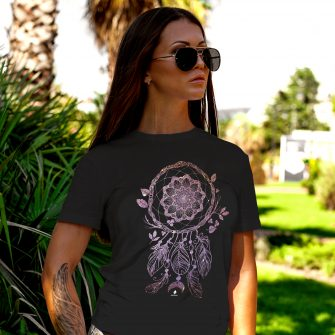 Crystal T Shirt Protection Energy Dreamcatcher DarkHeatherGrey Live