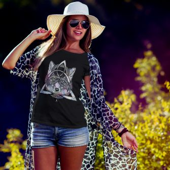Crystal T Shirt Protection Energy Wolf Black Live