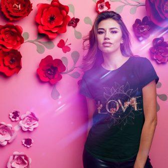 Crystal T Shirt Selflove Energy FlowerPowerLove Black Live