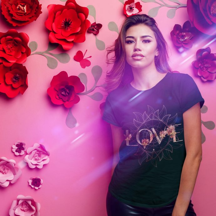Crystal T Shirt Selflove Energy FlowerPowerLove Black Live scaled